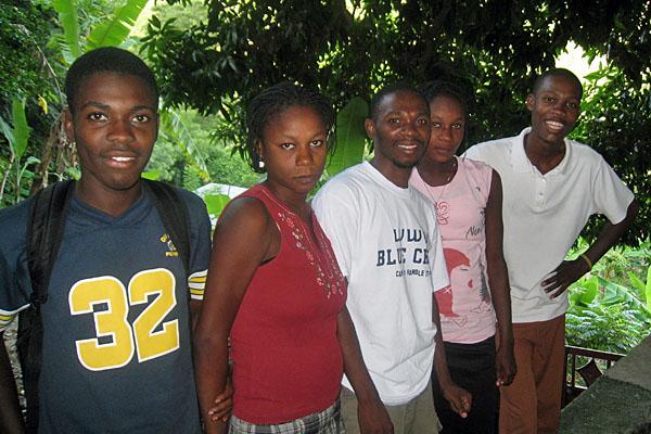 Edner (center) and four of the older orphanage children.